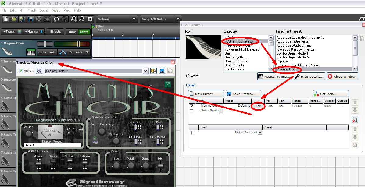 Click Here To Enlarge :: Acoustica Mixcraft: Loading Magnus Choir VSTi software