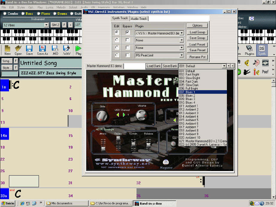 "VST Instrument  ""Presets box "" (Click Image to Enlarge) --- Changing_Presets_Band-in-a-Box_Syntheway_Master_Hammond_B3.jpg"