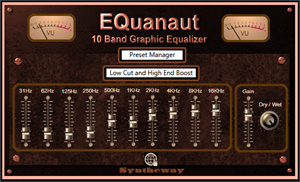 EQuanaut is a VST VST3 and Audio Unit stereo graphic equalizer with a set of band-pass filters that divide the audio spectrum into 10 bands.