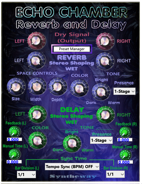 Click on to return to the main page of Echo Chamber Reverb and Delay VST Software from the Graphical User Interface (Screenshot)