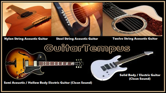 GuitarTempus Virtual Guitar VST: Acoustic, Semi Acoustic and Electric Guitars Plugin: 1.- Nylon String Acoustic Guitar: The classical guitar (also known as concert guitar, classical acoustic, nylon-string guitar, or Spanish guitar) is the member of the guitar family used in classical music. 2.- Steel String Acoustic Guitar: The steel-string acoustic guitar is a modern form of guitar that descends from the nylon-strung classical guitar, but is strung with steel strings for a brighter, louder sound. Like the classical guitar, it is often referred to simply as an acoustic guitar. 3.- Twelve String Acoustic Guitar: The twelve-string guitar is a steel-string guitar with twelve strings in six courses, which produces a richer, more ringing tone than a standard six-string guitar. Typically, the strings of the lower four courses are tuned in octaves, with those of the upper two courses tuned in unisons.  4.- Semi Acoustic (Hollow Body) Electric Guitar: A semi-acoustic guitar or hollow-body electric is a type of electric guitar that originates from the 1930s. It has both a sound box and one or more electric pickups. This is not the same as an acoustic-electric guitar, which is an acoustic guitar with the addition of pickups or other means of amplification, added by either the manufacturer or the player. 5.- Electric Guitar: An electric guitar is a fretted stringed instrument with a neck and body that uses a pickup to convert the vibration of its strings into electrical signals. The vibration occurs when a guitarist strums, plucks, fingerpicks, or taps the strings. It is sensed by a pickup, most commonly by a magnetic pickup that uses the principle of direct electromagnetic induction. The signal generated by an electric guitar is too weak to drive a loudspeaker, so it is plugged into a guitar amplifier before being sent to a loudspeaker, which makes a sound loud enough to hear.