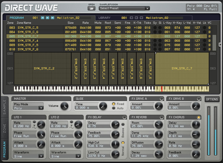 DirectWave is an inline multi-layer multi-timbral sampler, capable of playing and recording samples through real input sampling. All parameters and effects may be automated or modulated through a 16-slot modulation matrix.