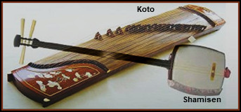 "The koto (Japanese: 箏) is a traditional Japanese stringed musical instrument derived from the Chinese zheng, and similar to the Mongolian yatga, the Korean gayageum, and the Vietnamese đàn tranh. The koto is the national instrument of Japan. The shamisen or samisen (三味線), also sangen (三絃) — both words mean ""three strings"" — is a three-stringed traditional Japanese musical instrument derived from the Chinese instrument sanxian. It is played with a plectrum called a bachi."