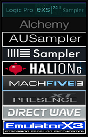 EXS24 MkII Sample Libraries for Apple Logic Pro EXS24 & Alchemy Samplers, GarageBand AUSampler (macOS ), Ableton Live Sampler, Steinberg HALion, MOTU MachFive 3, Presence XT Sampler -PreSonus Studio One 3 Professional- (macOS & Windows) as well as E-MU Emulator X3 and Image-Line DirectWave Player for Windows.