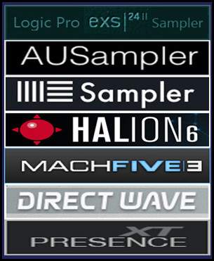 EXS24 MkII Sample Libraries for Apple Logic Pro EXS24 Sampler, GarageBand AUSampler (macOS ), Ableton Live Sampler, Steinberg HALion, MOTU MachFive 3, Presence XT Sampler -PreSonus Studio One 3 Professional- (macOS & Windows) and Image-Line DirectWave Player for Windows.