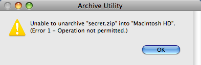 "Unable to expand (unarchive) ""filename.zip"" into ""Desktop"". (Error 1 - Operation not permitted.) Apple Mac OS X"