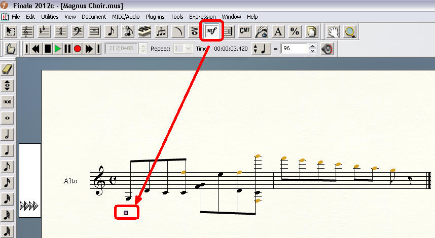 Click on, above, or below the note at which you want the patch to change. The Expression Selection dialog box appears. If you've previously created the patch change marking, double-click it. The expression appears in the score, where you can adjust its position. (Click on image below to enlarge)