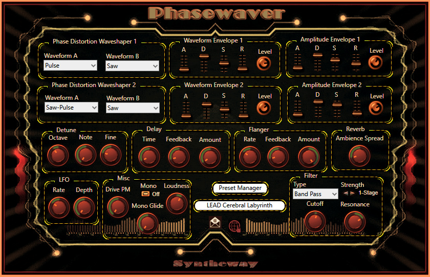 Click on to return to the main page of Phasewaver, a phase distortion synthesizer with a vast array of composite waveshaping and amplitude modulation to generate a complex frequency spectrum, from Graphical User Interface (Screenshot)