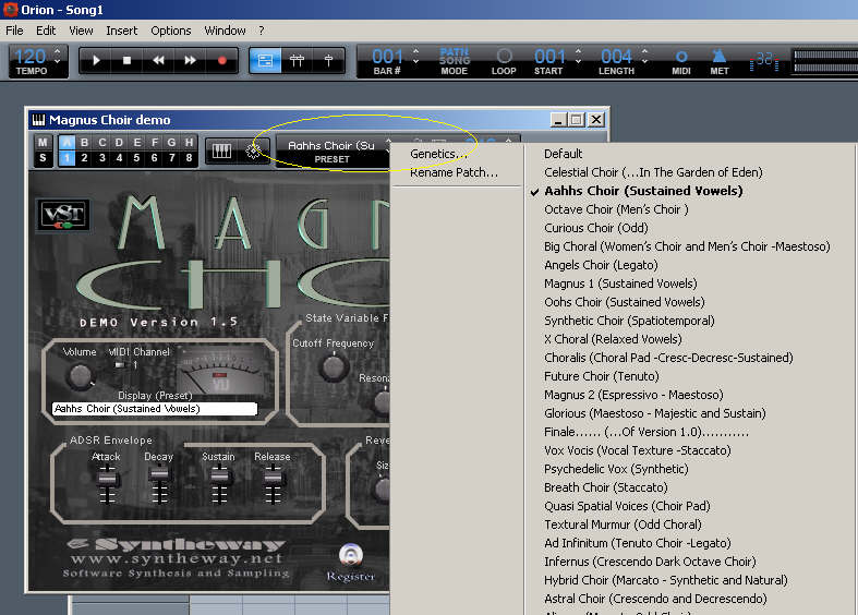 Selecting Magnus Choir Presets in Synapse Orion v7.62