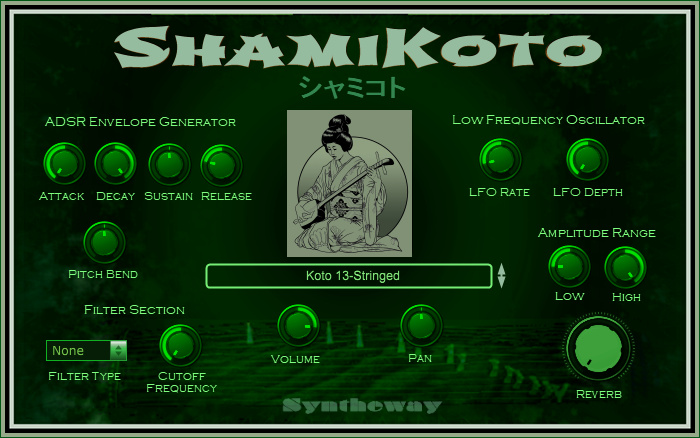 ShamiKoto is a virtual Koto (13-stringed) and Shamisen (three-stringed lute) designed to emulate those traditional Japanese musical instruments. Includes pre-recorded Koto glissandos.