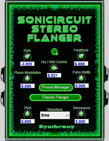 Click on to return to the main page of Sonicircuit Stereo Flanger VST Software from the Graphical User Interface (Screenshot)