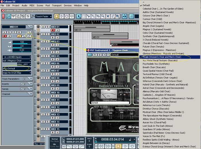 Steinberg Cubase SX: Loading Magnus Choir VSTi and Selecting