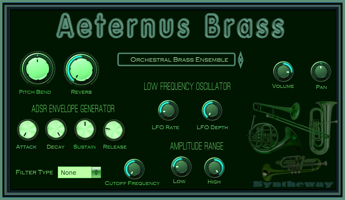Click on to return to the main page of Aeternus Brass VSTi Software from Graphical User Interface (Screenshot)