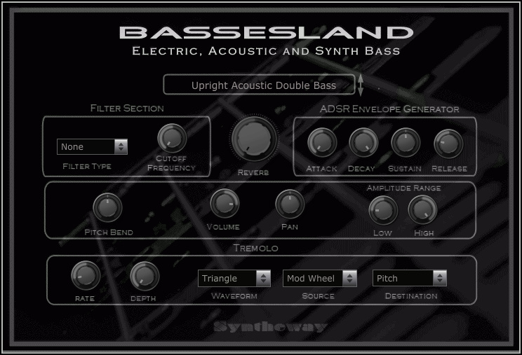 Return to the main page of Bassesland, a virtual bass software that covers a wide range of sounds, from an electric bass or an acoustic double bass, to the vintage bass synthesizers.
