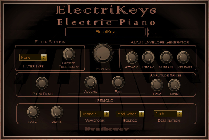 Click on to return to the main page of ElectriKeys Electric Piano VSTi Software. ElectriKeys Electric Piano VSTi Software from Graphical User Interface (Screenshot)