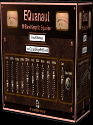 EQuanaut is a stereo graphic equalizer with a set of band-pass filters that divide the audio spectrum into 10 bands allowing to control the amount of boost or cut in narrower frequency ranges, which is controlled with sliders or faders that can be driven by a gain control.