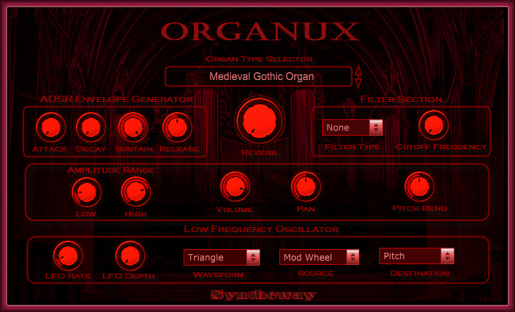 Click on to return to the main page of Organux VSTi Software from Graphical User Interface