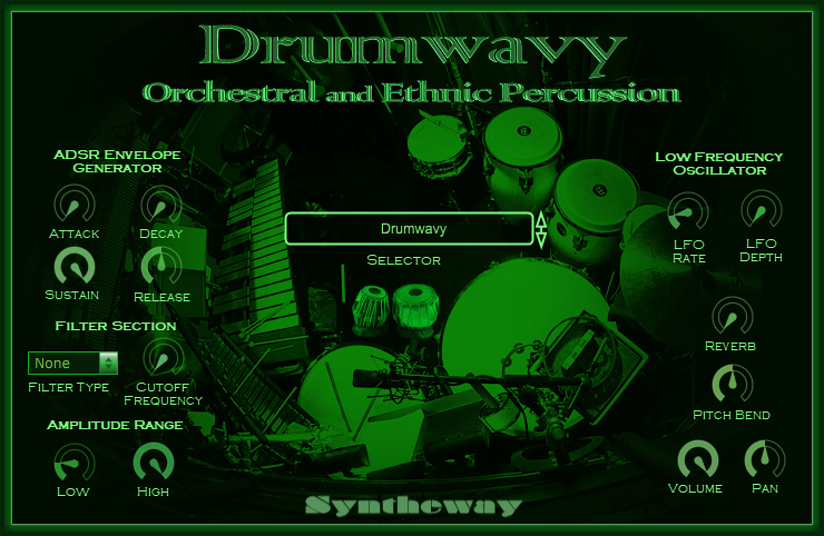 Click on to return to the main page of Syntheway Percussion Kit VSTi Software from Graphical User Interface (Screenshot)