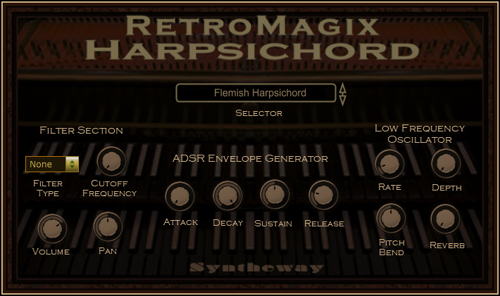 Click on to return to the main page of RetroMagix Harpsichord VSTi Software from Graphical User Interface (Screenshot)
