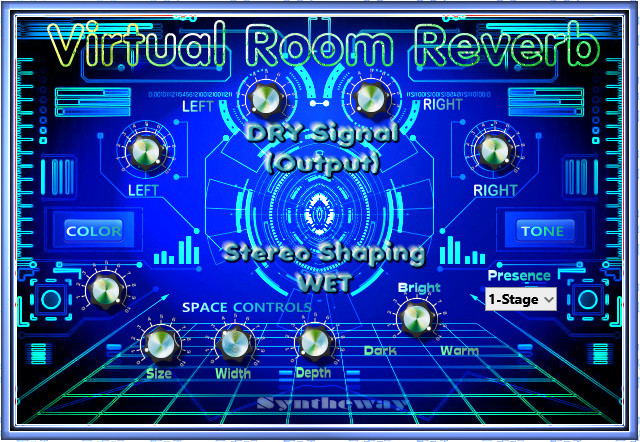 Click on to return to the main page of Virtual Room Reverb VST Software from the Graphical User Interface (Screenshot)