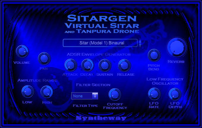 Click on to return to the main page of Syntheway Virtual Sitar VSTi Software from Graphical User Interface (Screenshot)
